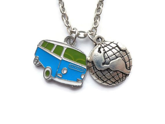 Travel Necklace Travel jewelry Bus Charm Bus by HillyBCreations