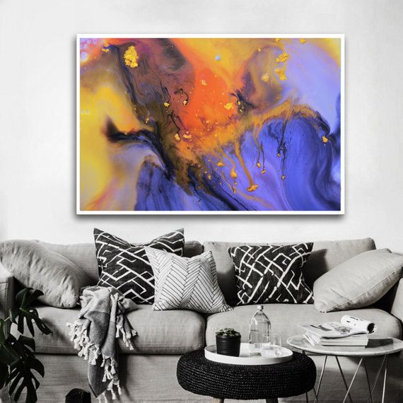 Orange and blue abstract print from original by BuyWallArt on Etsy