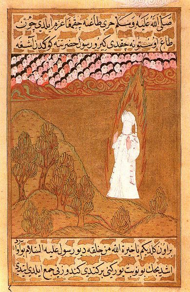 Muhammad, shown with a veiled face and halo, at Mount Hira (16th century Ottoman illustration of the Siyer-i Nebi)