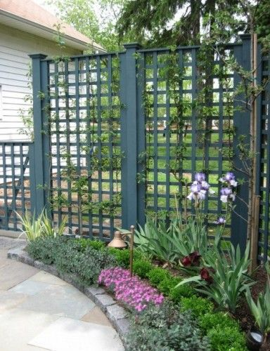 Vertical panels in a square lattice pattern protect a side yard from view. I love the beefy posts and lathing as well as the dark teal stain, making this solution people and plant friendly. For those within this space, it's nice to glimpse neighborhood activity on the sidewalk or street without feeling exposed.
