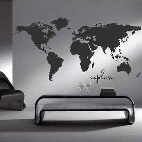 world map bedroom wall sticker