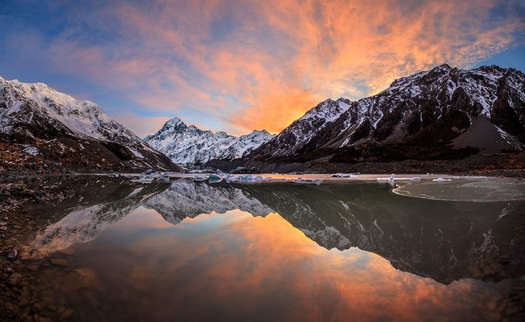 ~Second Time Lucky~ - We hiked Hooker valley's 10kms return track for sunset loaded down with camera gear, the sky looking good, all hopes were high.  Hopes way too high, stunning spot, but not so stunning light  Hours later we're back at the tents camping in -8 conditions ( after a little star shooting). All excited for another attempt the next morning.  Dragging ourselves out of frost laden tents at 4:30am , glancing at the totally clear skies,  we start the walk in again. A few test…