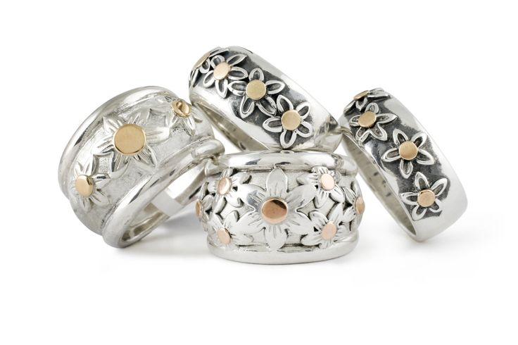 Handmade Argentium Silver & 9ct Rose Gold Daisy Rings