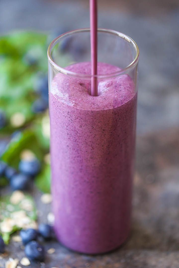 This protein blueberry kale smoothie is packed with protein. The best part is you won't even taste the kale!