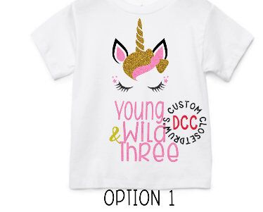 Unicorn Birthday Outfit Themed Shirt Young Wild And Three