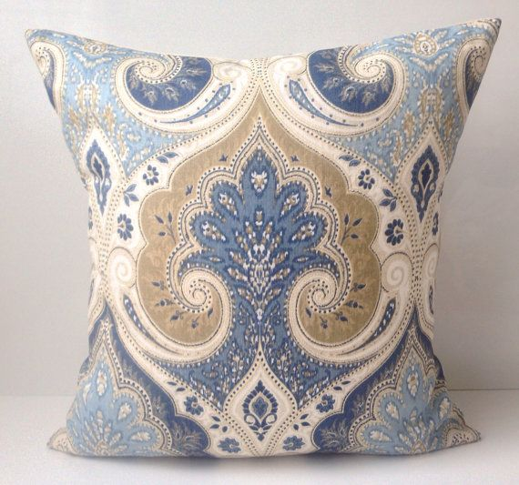 Blue Linen Throw Pillows : Blue Pillow Cover Decorative Throw Pillow Damask Pillow Cushion Accent Linen KRAVET Pillow ...