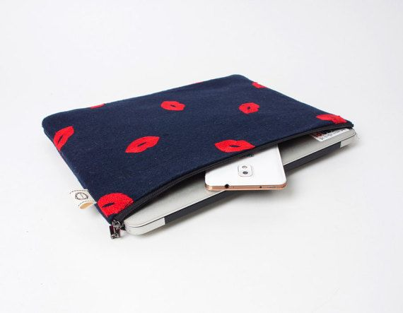 Hey, I found this really awesome Etsy listing at https://www.etsy.com/listing/263114392/red-lip-embroideries-notebook-sleeve-13