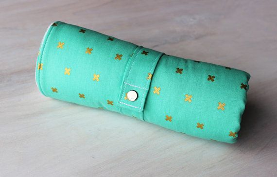 Travel Changing Pad Mint and Gold Baby Play by BlackArrowStudio