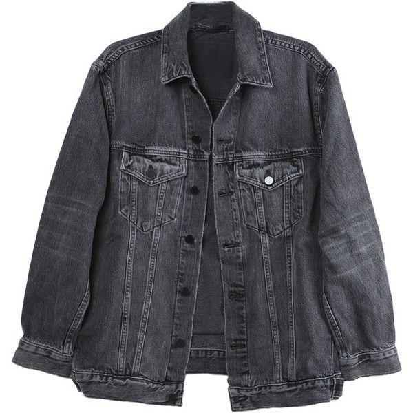 Alexander Wang Daze Grey Denim Jacket (£310) ❤ liked on Polyvore featuring outerwear, jackets, grey jacket, denim jacket, gray denim jacket, gray jacket and gray jean jacket
