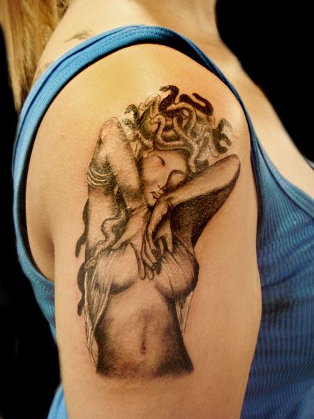 Amazing Medusa Tattoo On Upper Arm For Women