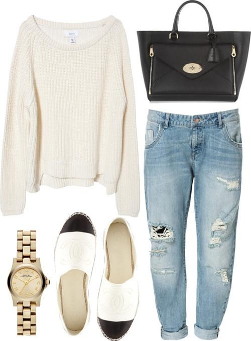 boyfriend jeans, black purse, chanel espadrilles