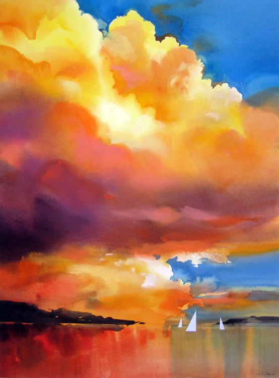 Joe Cibere -sunset sail.  Gorgeous use of vibrant color in this watercolor. #artfulandartists