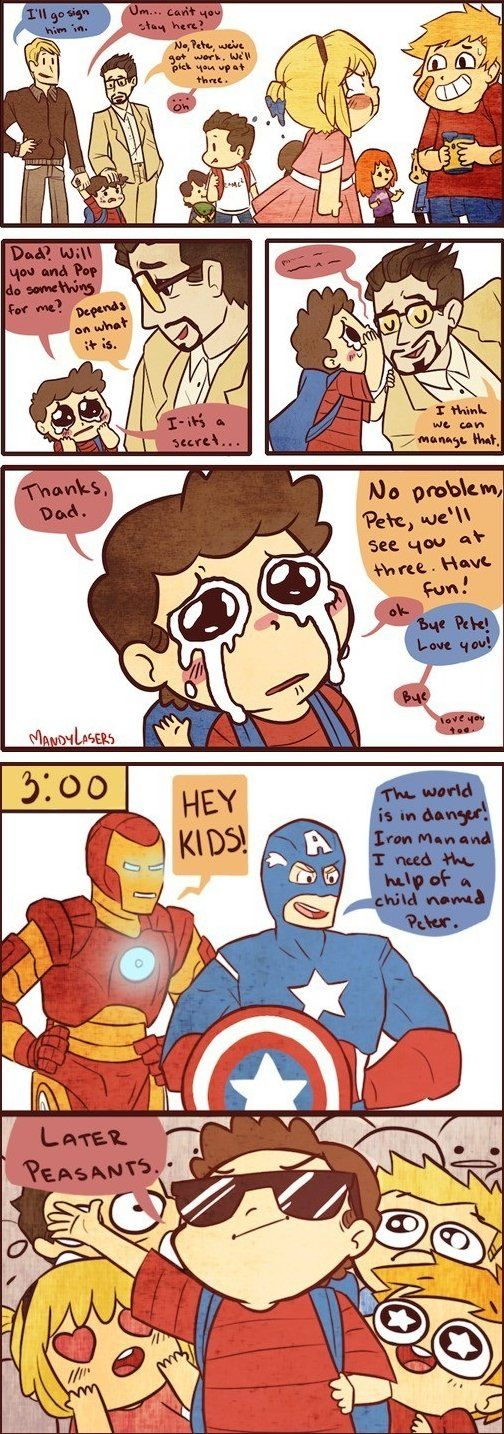 omg i want this to happen to me (not as my dad tho) xx only id prob flirt with iron man and captain america