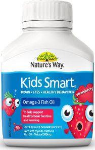 Nature's Way Kids Smart Fish Oil memberikan anak nutrisi Omega-3 DHA dan EPA baik untuk pertumbuhan fungsi otak dan membantu anak belajar lebih baik. Komposisi: EPA 28mg, DHA 133mg, Marine Triglycerides 180mg. Direkomendasikan untuk anak mulai 3 tahun: 1-2 kapsul tiap hari. Bisa dikunyah dan ditelan. Harga Rp 210.000,- di luar ongkir TIKI/JNE. Ready Stock!