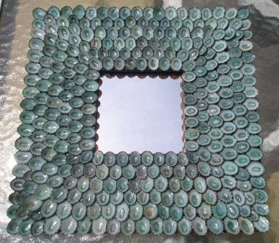 """Beach Decor Blue Sea Shell Mirror, FREE SHIPPING, Decorated By Hand With Over 300 Turquoise Limpet Shells Frame Size 10"""" x 10"""" on Etsy, $349.00"""