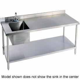 "Stainless Steel Work Benches | Stainless Steel Workbench with Sink | 72"" L x 30"" W 16 Gauge Stainless Steel Workbench w/ Undershelf and Left Sink 
