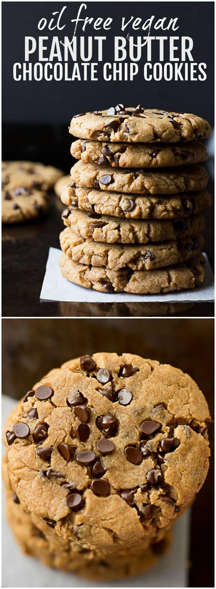 Oil Free Vegan Peanut Butter Chocolate Chip Cookies | Nora Cooks via @noracooks