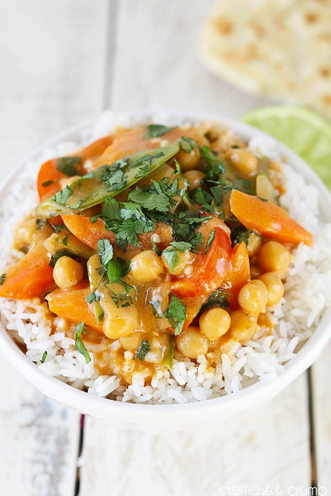 Chickpea Curry {Vegetarian} I made this on Dec 26 2014 but put in 3 cups snap peas instead of 2, some fresh basil, and a lot of coconut milk (about 1.6 litres worth)!