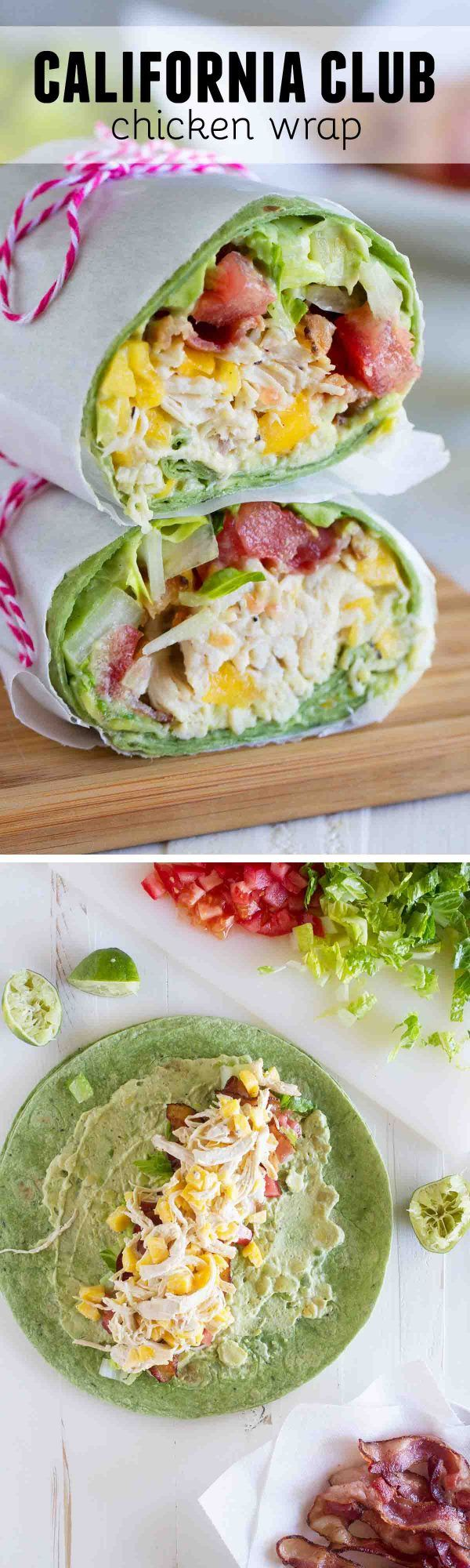 Shredded chicken, mango, avocado and bacon are the stars in this easy California Club Chicken Wrap that is perfect for a weeknight. (Chicken Wraps)