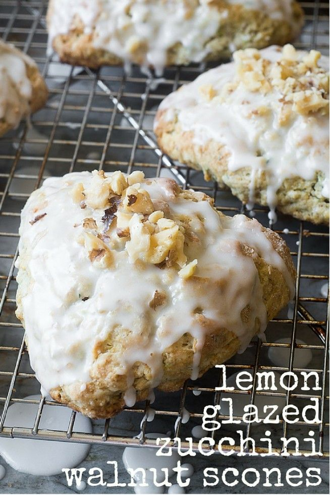 Lemon Glazed Zucchini Walnut Scones ~ this scone recipe is perfect for fall mornings, overnight guests, or holiday breakfasts! ~ theviewfromgreatisland.com