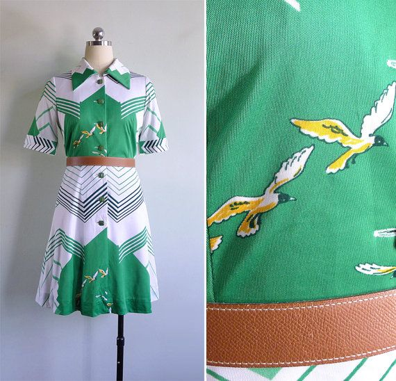 Why do birds suddenly appear, everytime you are near? Just like me, they long to be close to you...  Retro-tastic 1970s optical art shirt dress