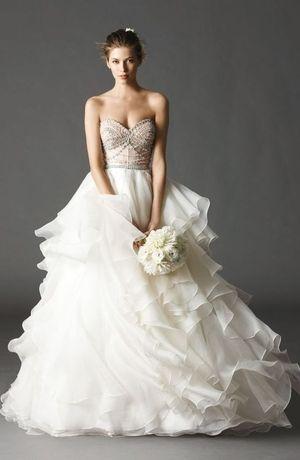 Watters Sweetheart Ball Gown in Organza   KleinfeldBridal.com