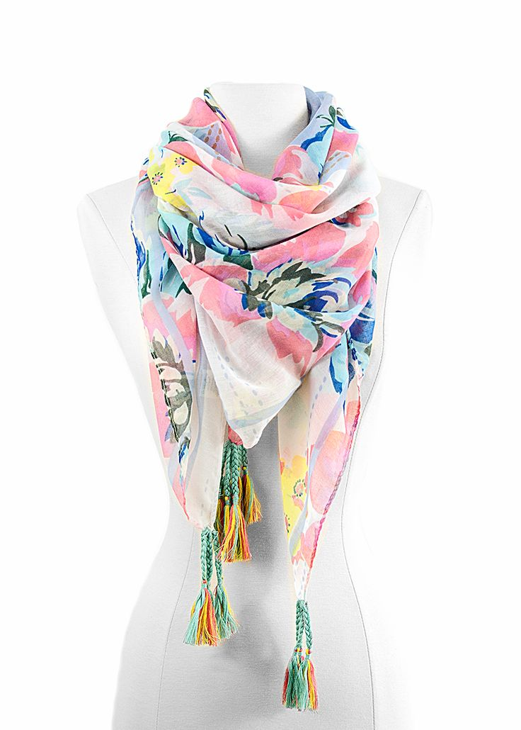 Watercolor Flower Scarf