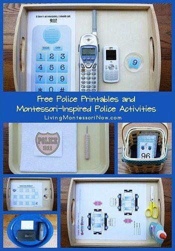 Free Police Printables and Montessori-Inspired Police Activities  . preschool - kindergarteners. #freeprintables #police