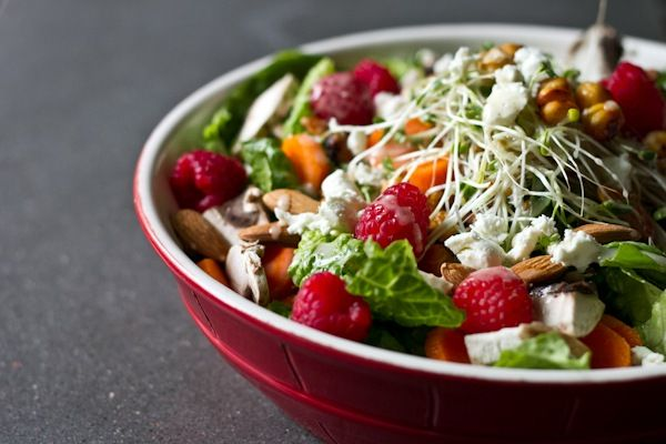 Summery Salad with Maple Roasted Chickpeas. Serve with blueberry corn bread (edible perspective)