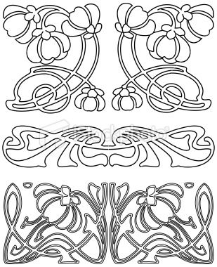 Art Nouveau Design Elements 3 (Vector). Royalty Free Stock Vector Art Illustration