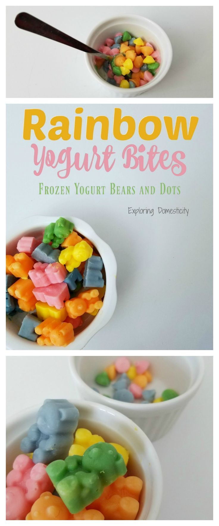Rainbow Yogurt Bites are such a fun and colorful treat. Kids don't have to know that parents love to give them this healthy snack!  Easily make these frozen yogurt bears and dots for snacks, treats, or lunches! Kiddos will love the fun colors and how they swirl together. Parents love ...