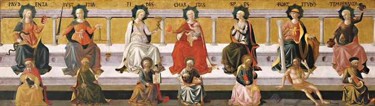 ... Virtues- Prudence, Justice, Faith, Charity, Hope, Fortitude and Temperance and their representative Saints (Pesellino Shop, Birmingham Museum of Art)