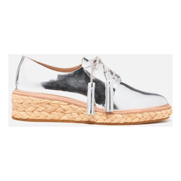 Loeffler Randall Women's Callie Espadrille Tassle Shoes - Silver (£188) ❤ liked on Polyvore featuring shoes, sandals, silver, lace up wedge sandals, lace up sandals, silver sandals, woven wedge sandals and lace up espadrilles
