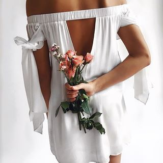 White off the shoulder cut out back dress flowers women's fashion online Toronto