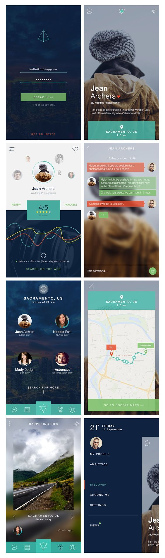 Nerdial App UI – 8 screens FREE PSD on Behance: