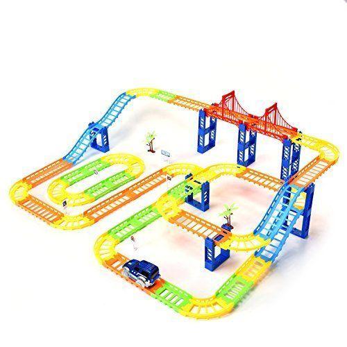 Race Car Track Rail Car Building Block City Bridge Car Set