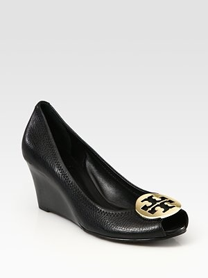 Tory Burch Sally 2 Leather Logo Wedge Pumps