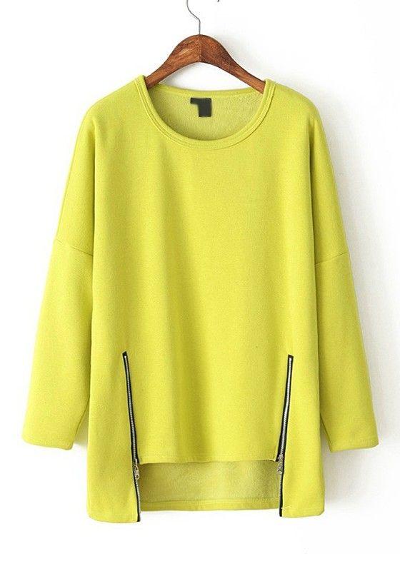 Yellow Plain Zipper Irregular Round Neck Flocking T-Shirt