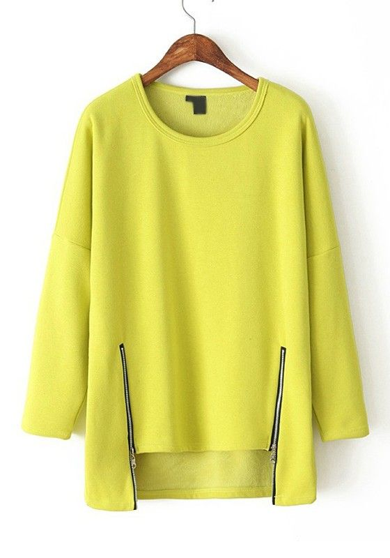 love the hemline - Yellow Plain Zipper Irregular Round Neck Flocking T-Shirt