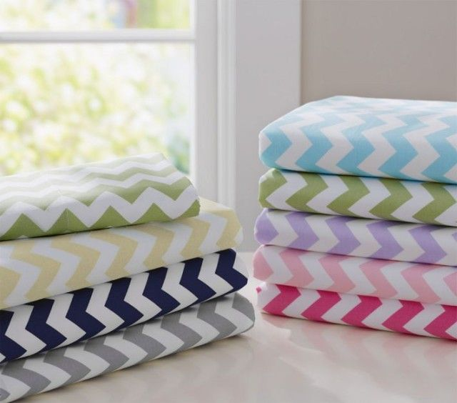 Chevron Crib Bedding Round-up - We love the bright colors in these #chevron sheets from @Pottery Barn Kids!