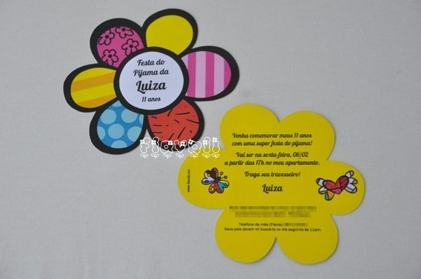 Convite flor Romero Britto, recortado  :: flavoli.net - Papelaria Personalizada :: Contato: (21) 98-836-0113 vendas@flavoli.net