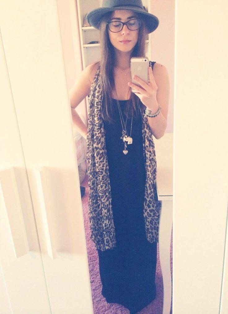 Topshop hat, H&M dress, H&M scarf, Chanel glasses, Mokobelle bracelets, Minty Dot short necklace, H&M long necklaces