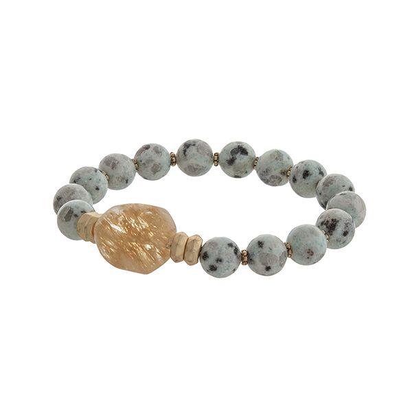 Wholesale amazonite stone beaded stretch bracelet brown moss stone