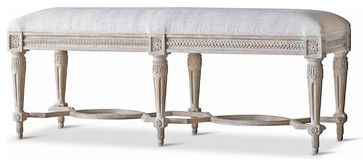 Constance Gustavian French Country Duck Egg Taupe Fog Linen Bench - Short transitional-bedroom-benches