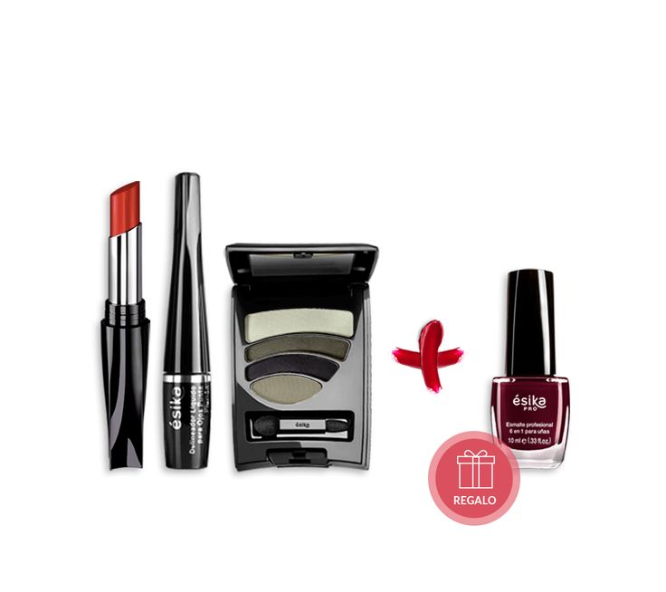 Este pack fue creado para aquellas mujeres que quieren lucir un maquillaje perfecto toda la noche. El pack incluye un Cuarteto Sombras (Tono: Acero Geometric), un Labial Perfect Match (Tono: Fresa Tentación) y un Delineador Punta Plumón (Tono: Negro). Incluye de  strong>regalo un Esmalte 6 en 1 (Tono: Sangre Latina).