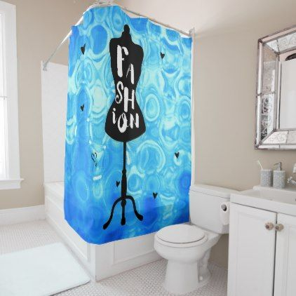 Fashion Mannequin Stand Blue Retro Vintage Shower Curtain - vintage gifts retro ideas cyo