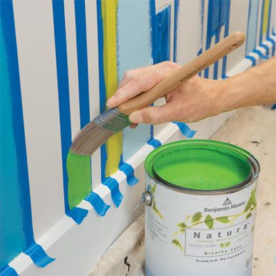How to paint a striped wall (accent wall in little one's room)