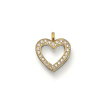 THOMAS SABO heart pendant with eyelet made from 925 Sterling Silver; 18K yellow gold plated with white syn. zirconia. The syn. zirconia stones sparkle beyond the delicate edges of the heart pendants with 750 yellow gold plating (18 carat). A diversely combinable item of jewellery (Size: 1.4 cm).