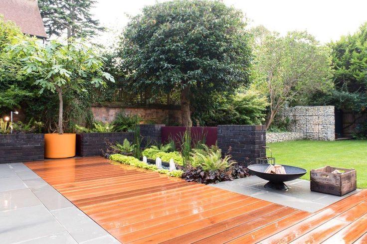 September - balau decking, polished sandstone patio