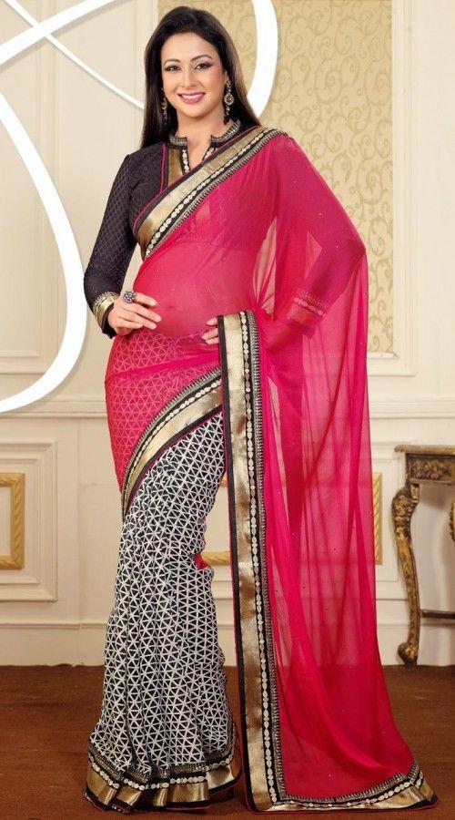Preeti Jhangiani In Black And Pink Chiffon Saree FD2785491